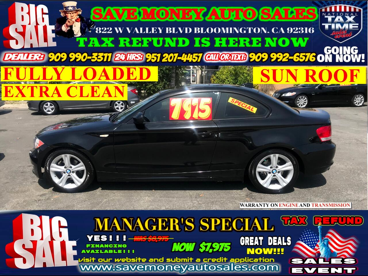 2011 BMW 1-Series 128i COUPE> EXTRA CLEAN> SUN ROOF> FULLY LOADED