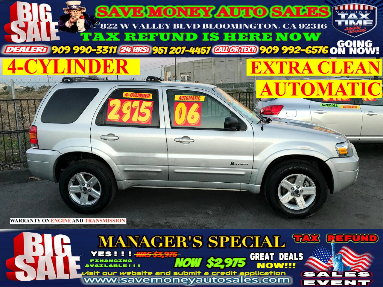 2006 Ford Escape Hybrid 4 CYLINDER> EXTRA CLEAN> AUTOMATIC