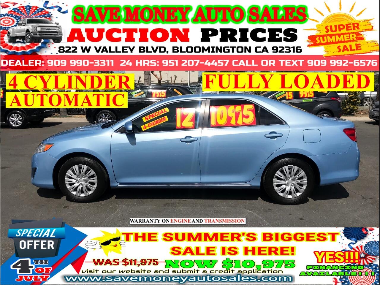 2012 Toyota Camry LE> 4 CYLINDER> FULLY LOADED> AUTOMATIC
