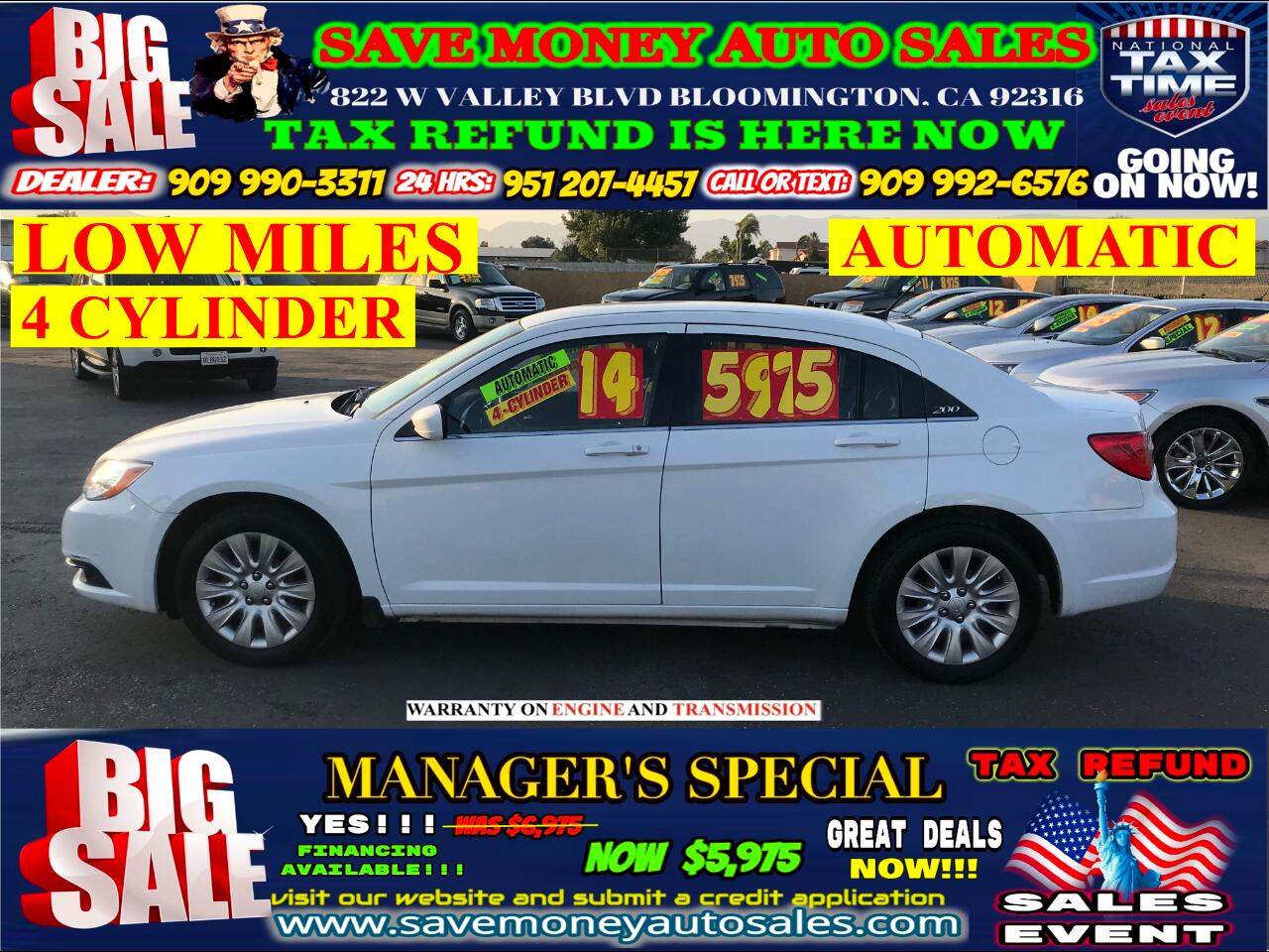 2014 Chrysler 200 LOW MILES> AUTOMATIC > 4- CYLINDER> EXTRA CLEAN