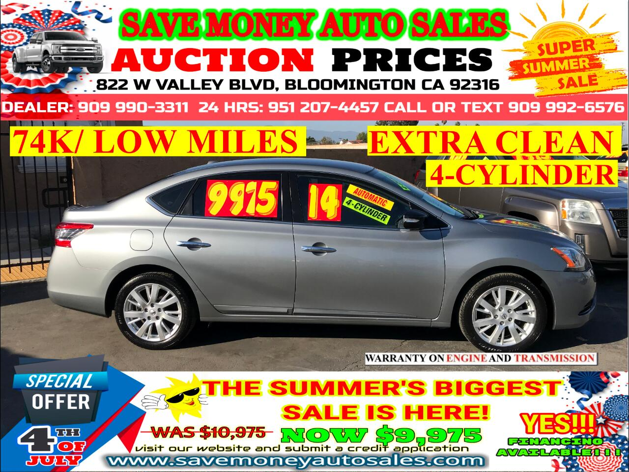 2014 Nissan Sentra SL> 74K LOW MILES> EXTRA CLEAN> 4-CYLDS