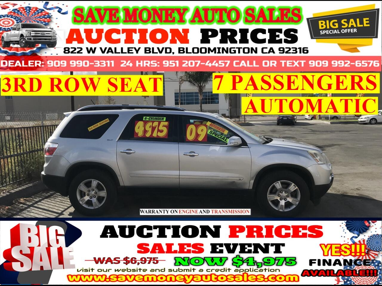 2009 GMC Acadia AWD> 7 PASSENGERS> 3RD ROW SEAT> FULL LEATHER