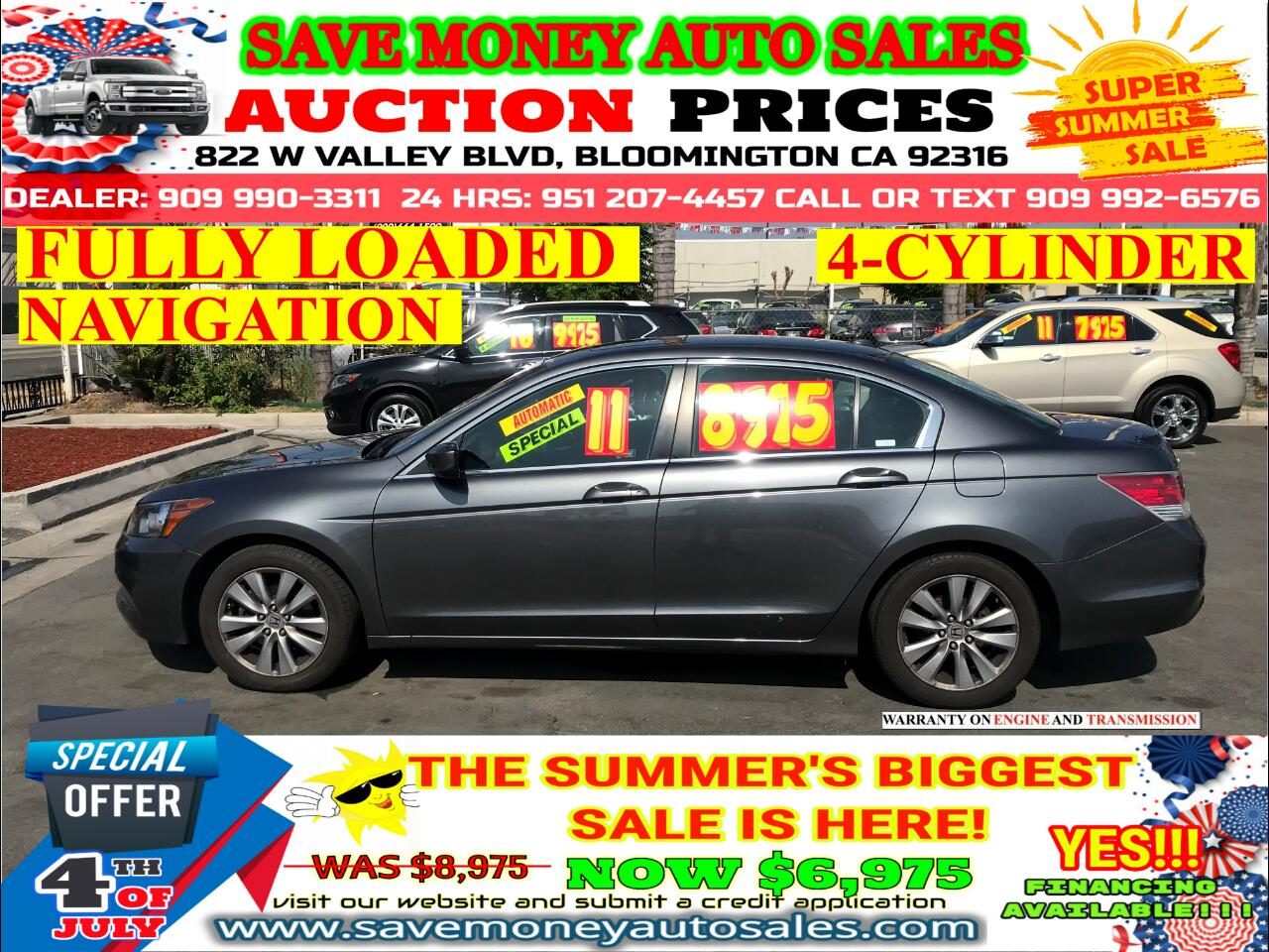 2011 Honda Accord FULLY LOADED> NAVIGATION SYSTEM> SUN ROOF> 4-CYLDS