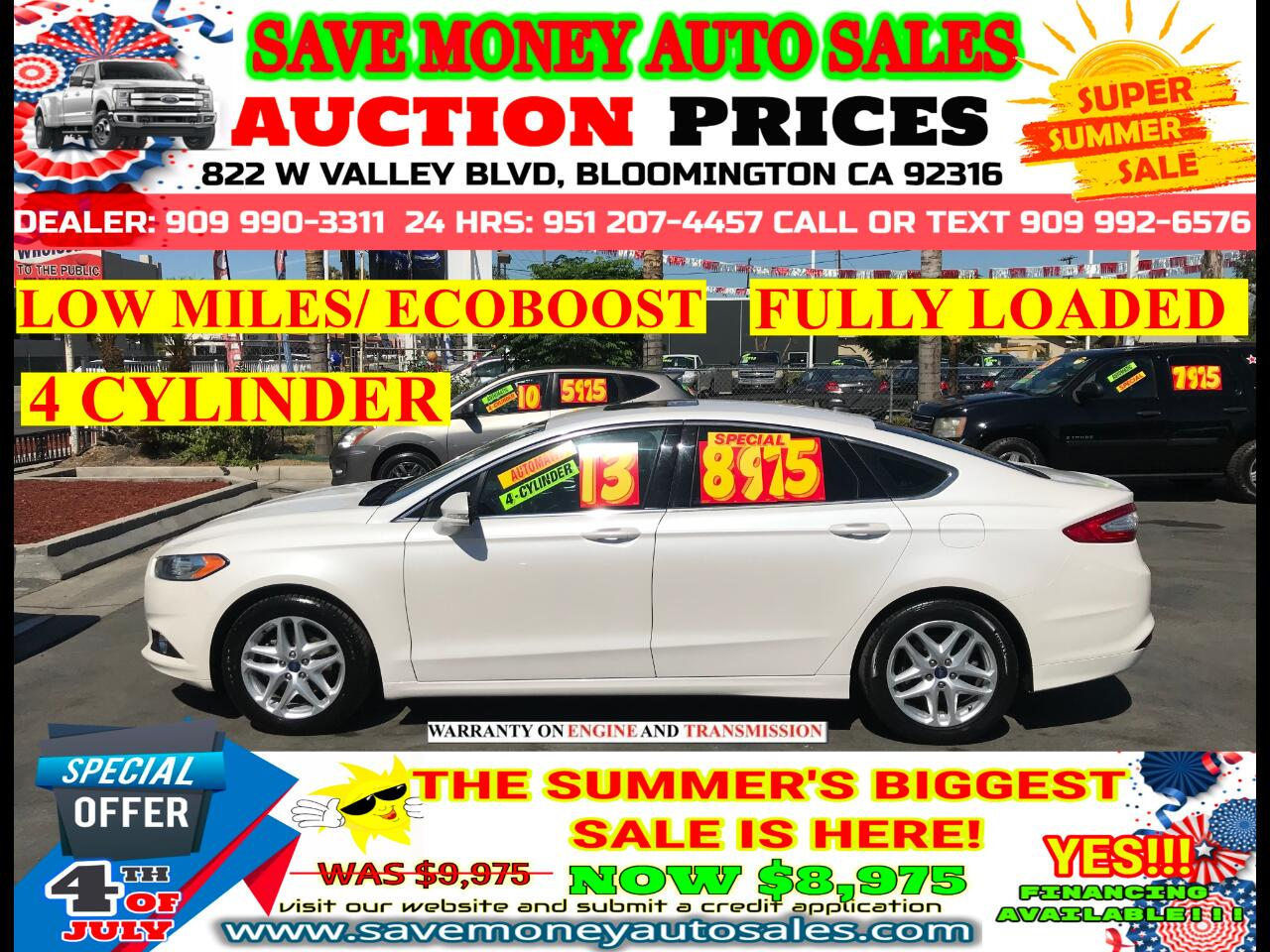 2013 Ford Fusion SE> 4 CYLDS> ECOBOOST> FULLY LOADED> EXTRA CLEAN