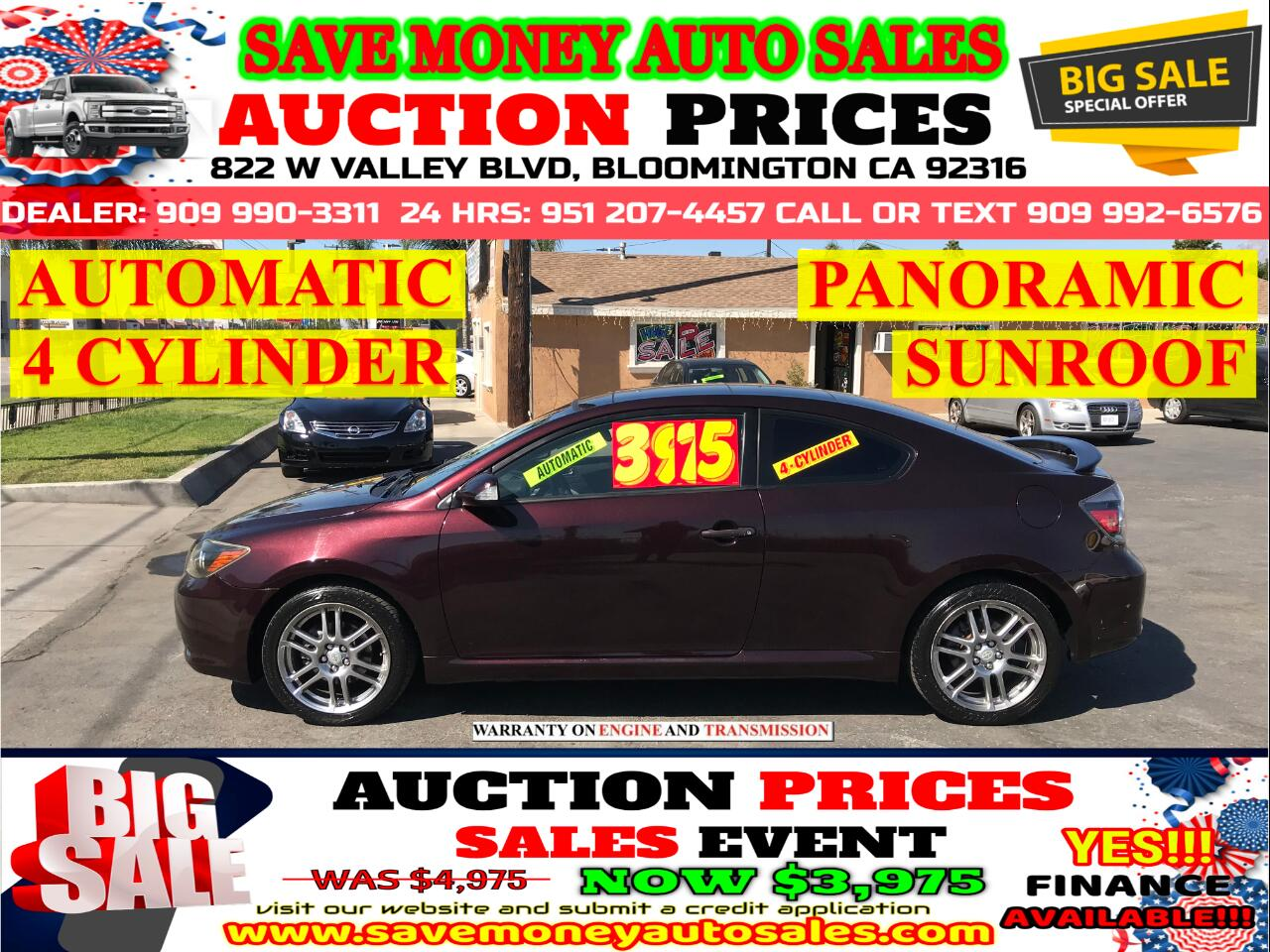 2008 Scion tC 4 CYLINDER> PANORAMIC SUN ROOF> AUTOMATIC