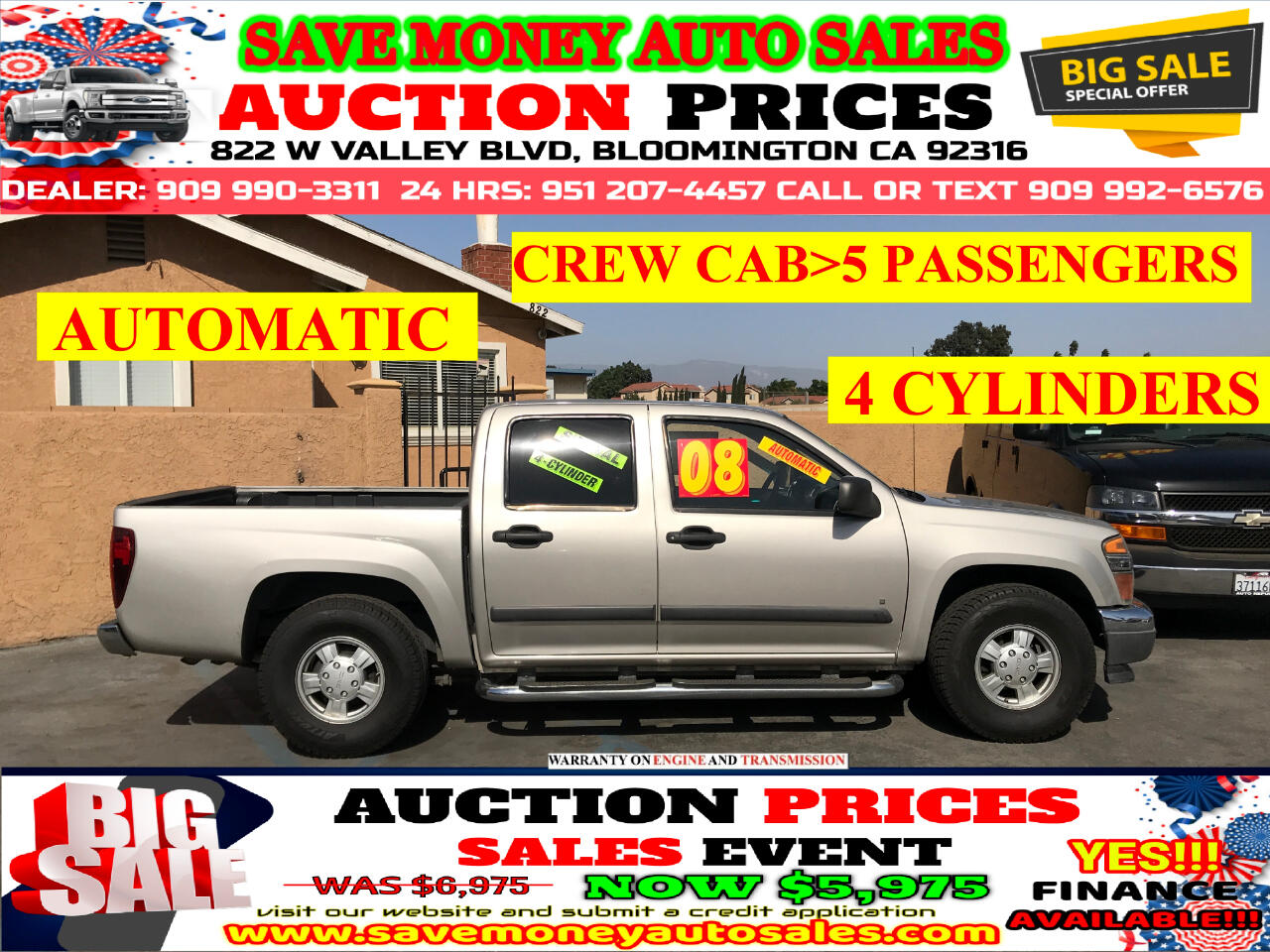 2008 GMC Canyon SLE CREW CAB>4 DOORS,AUTOMATIC,4 CYLINDERS>>>
