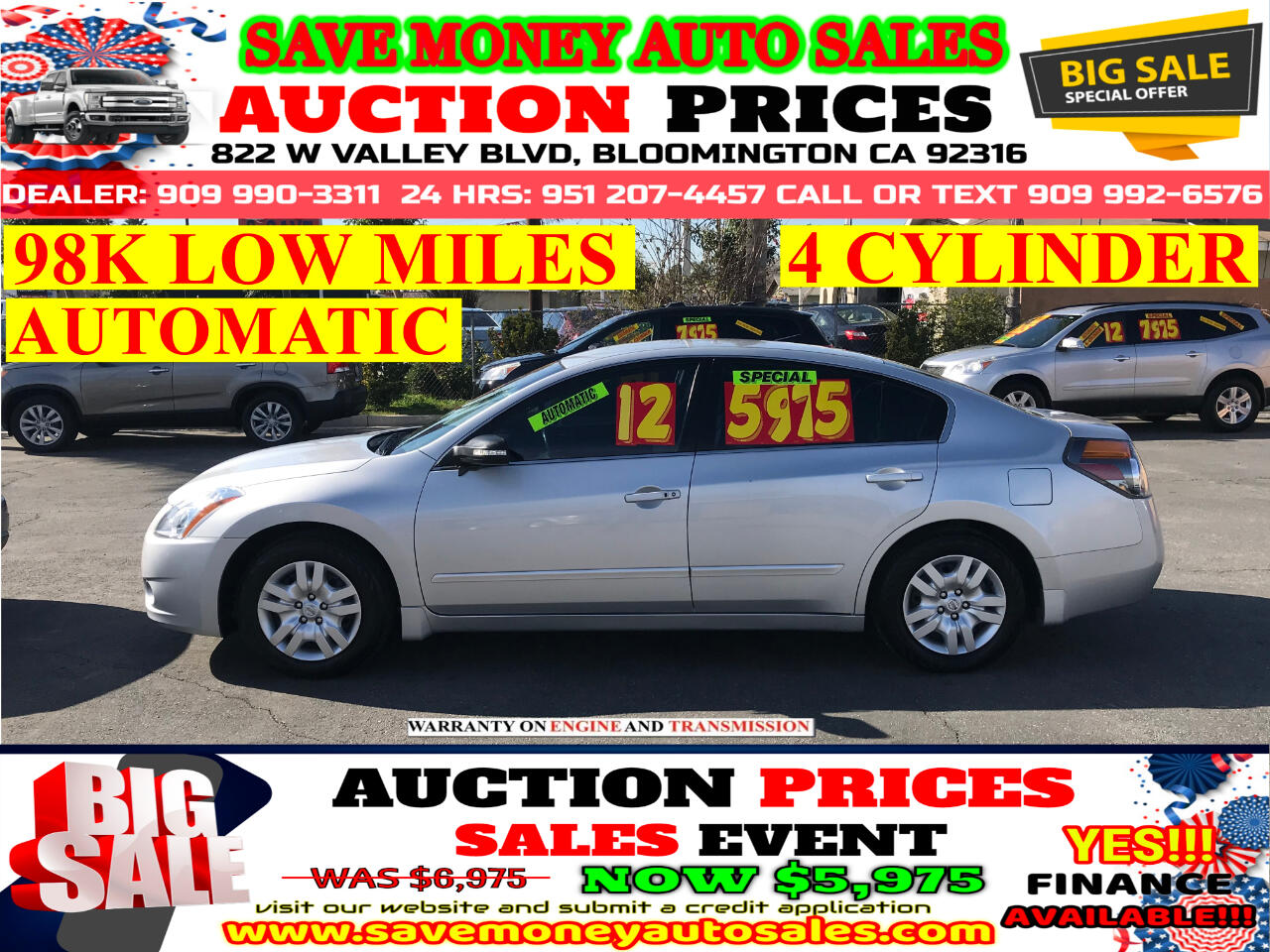used 2012 nissan altima 2 5s 98k low miles automatic extra clean 4cyld for sale in bloomington ca 92316 save money auto sales save money auto sales