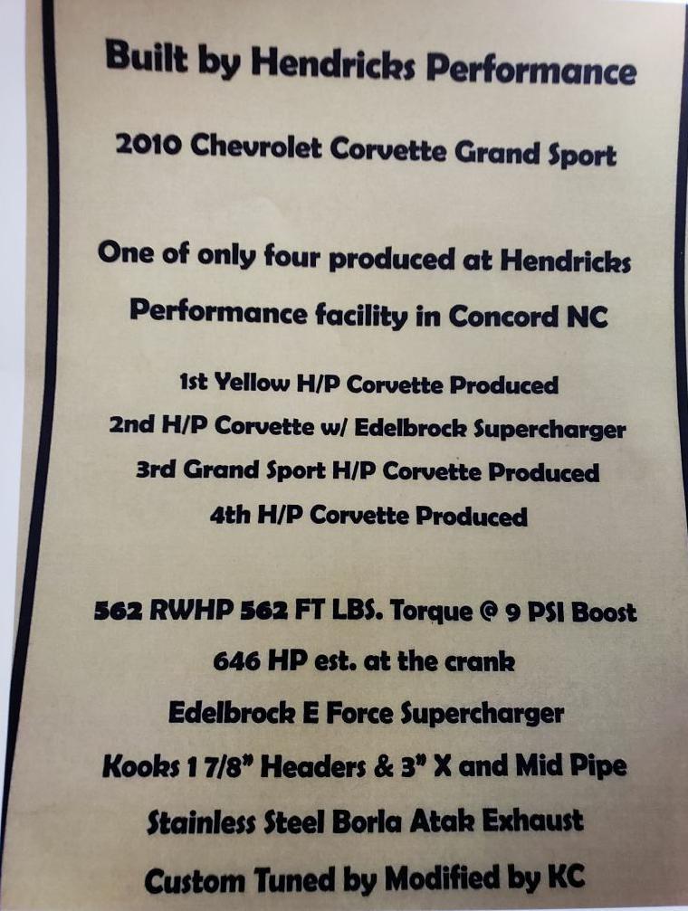 2010 Chevrolet Corvette GRAND SPORT COUPE Z-16 G/S1-LT