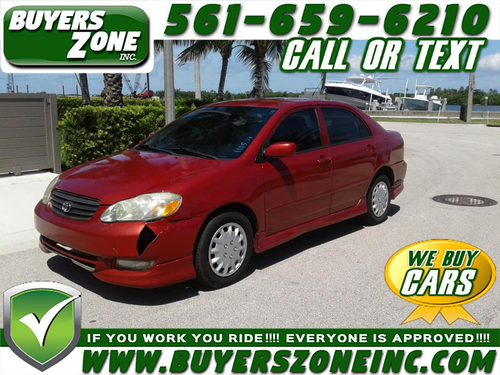 buy here pay here 2003 toyota corolla 4dr sdn ce auto natl for sale in west palm beach fl. Black Bedroom Furniture Sets. Home Design Ideas