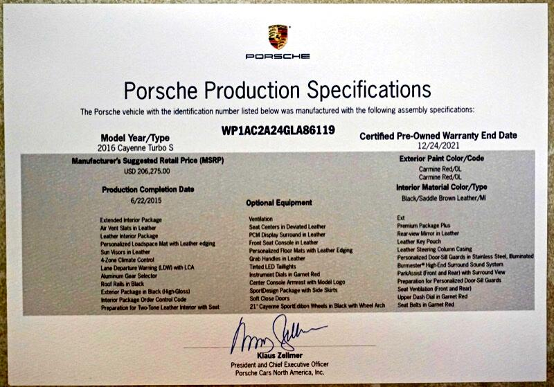 2016 Porsche Cayenne Turbo S