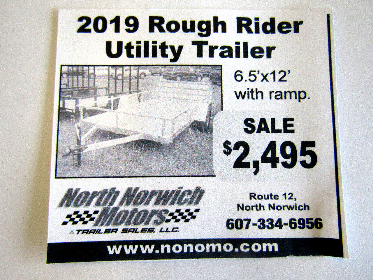 2019 Rough Rider RRU6512SA 6.5X12 UTILITY WITH RAMP  3K