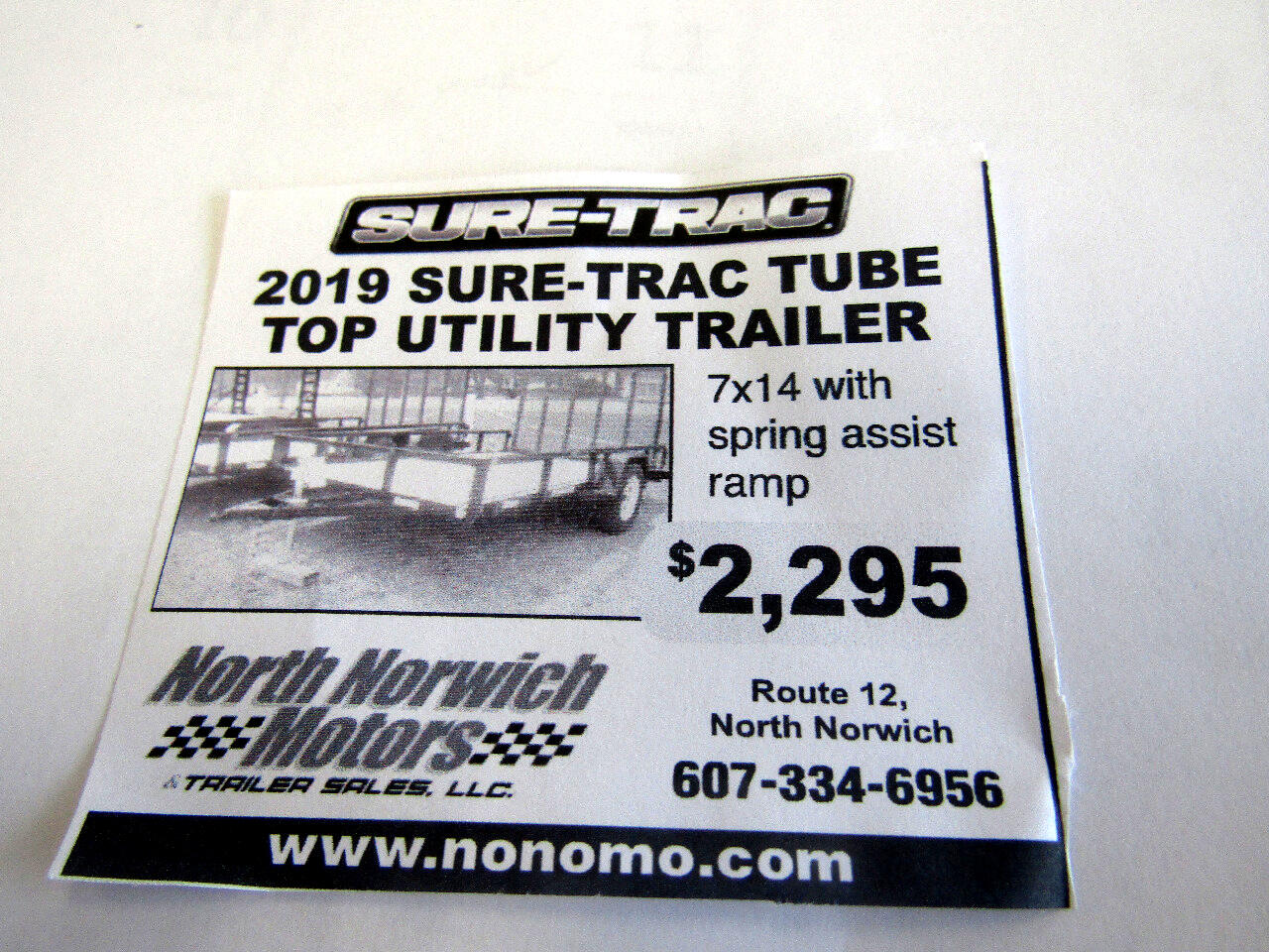 2019 Sure-Trac Tube Top Utility Trailer 7X14 WITH SPRING ASSIST RAMP   3K