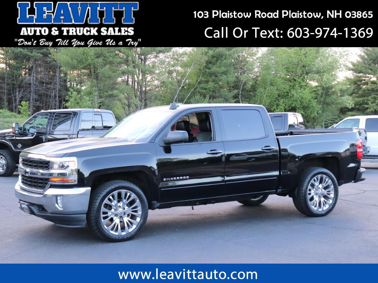 Used 2017 Chevrolet Silverado 1500 Lt Crew Cab Black Black 22 Chrome Wheels For Sale In Plaistow Nh 03865 Leavitt Auto And Truck