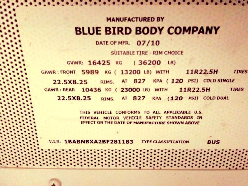 2011 Blue Bird All American/All Canadian 2011 BLUEBIRD 44 PASSENGER BUS 8.3L CUMMINS MOTOR