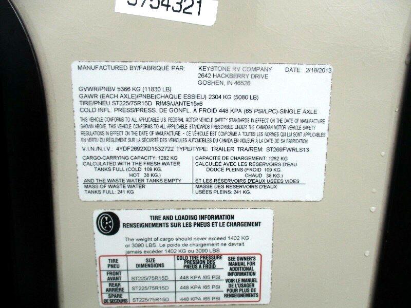 2013 Keystone Sprinter COPPER CANYON 269FWRLS
