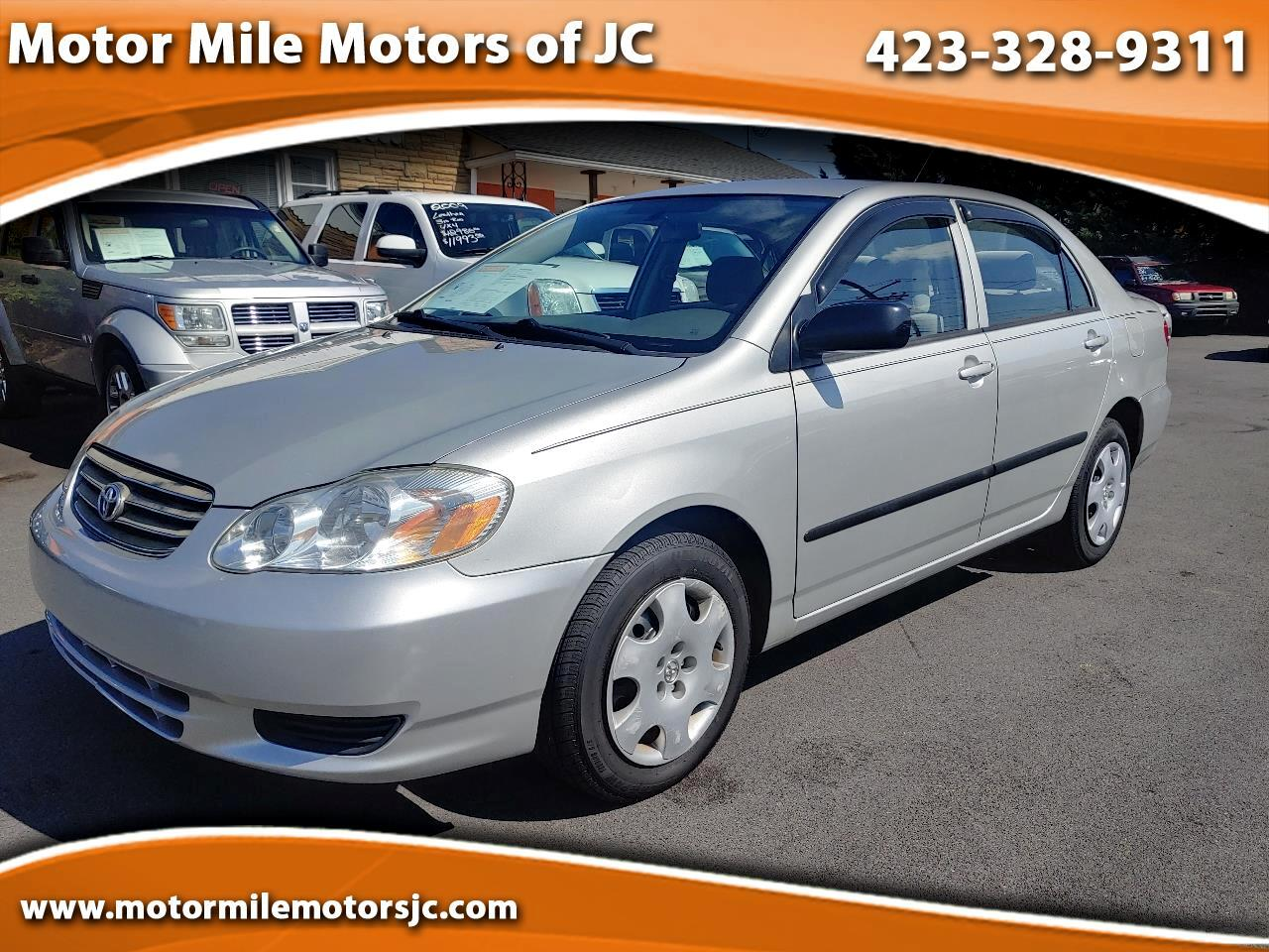 used 2004 toyota corolla 4dr sdn ce manual natl for sale in johnson city tn 37601 motor mile motors motor mile motors