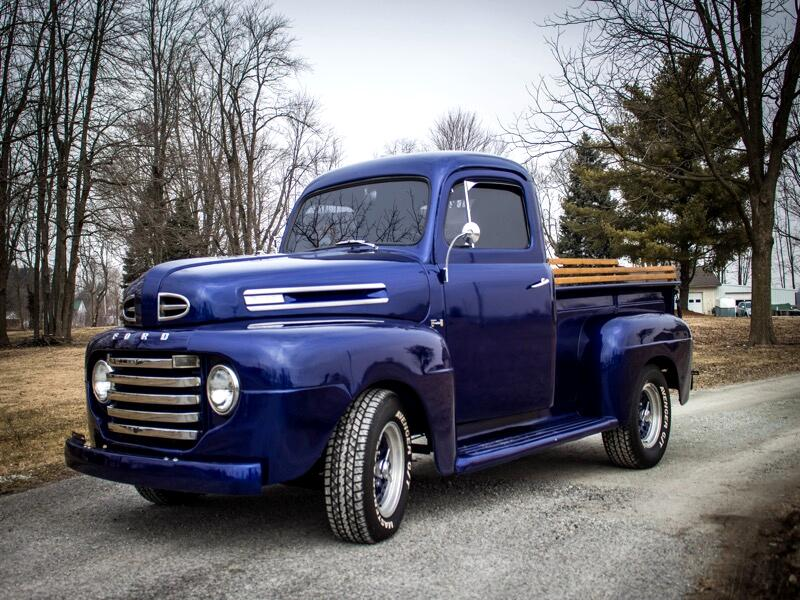1948 Ford F1 2DR DARK BLUE STEPSIDE WITH COLOR MATCHING WHEELS