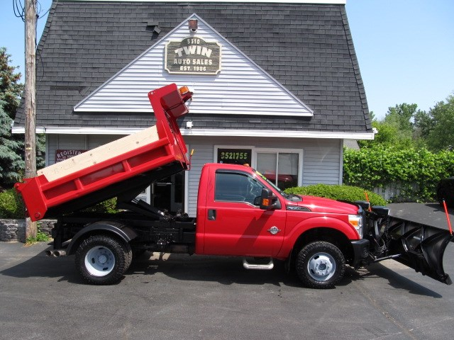 2012 Ford F-350 SD 4WD DRW 1-Ton Dump 9' Stainless Steel Fisher Plow