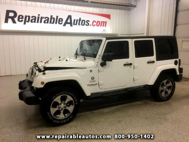 2016 Jeep Wrangler Unlimited Sahara 4WD Repairable Front Damage
