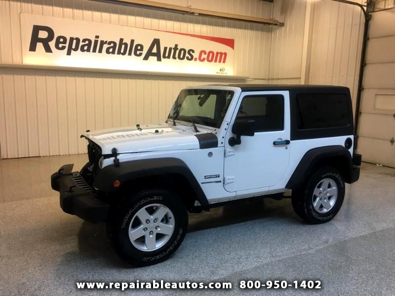 2018 Jeep Wrangler JK Sport 4WD Repairable Front Damage