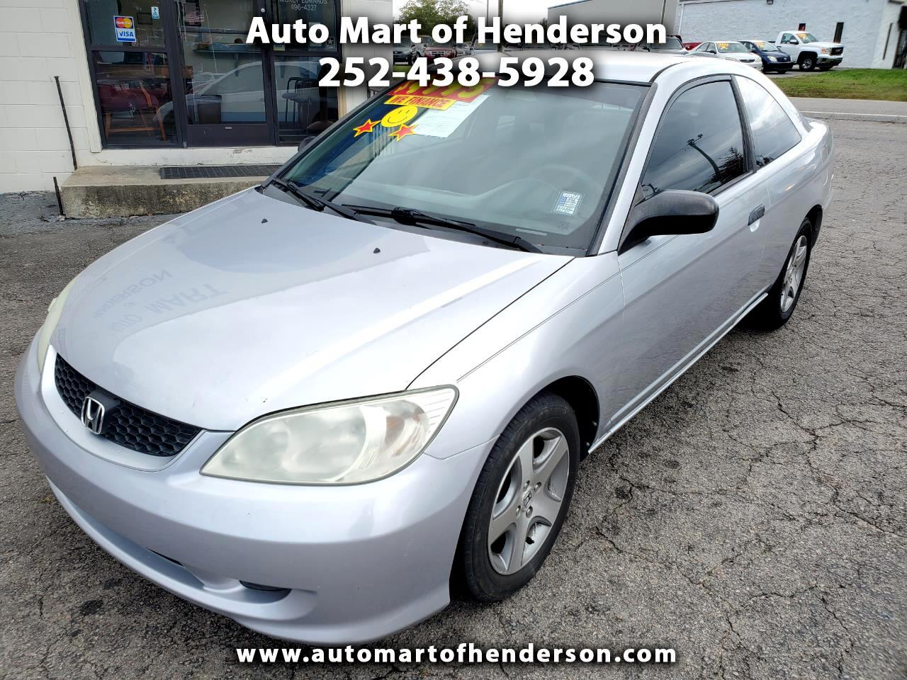 Honda Civic VP Coupe w/ Front Side Airbags 2005