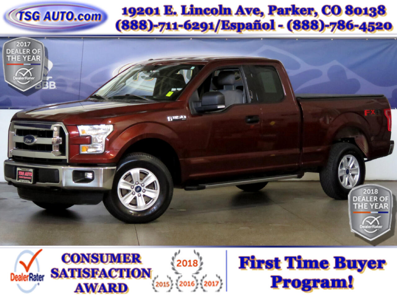 2015 Ford F-150 XLT FX4 Super Cab 5.0L V8 4WD W/Bed Cover