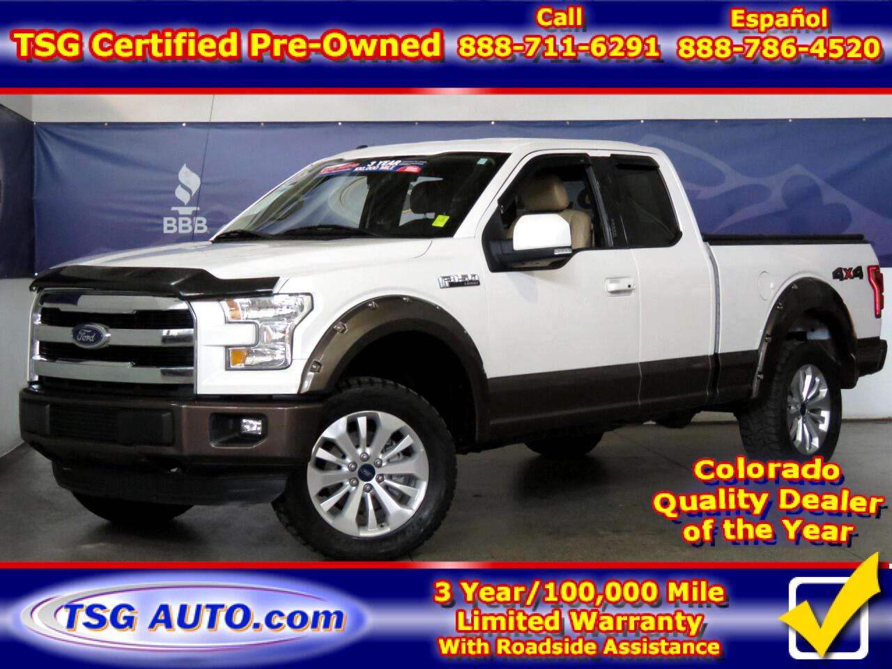 "2015 Ford F-150 4WD SuperCab 145"" Lariat W/Custom Lift"