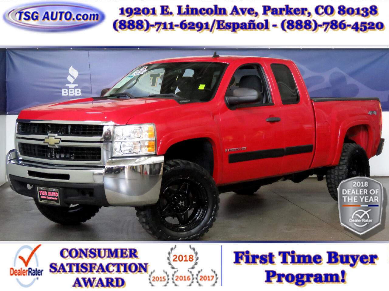 "2008 Chevrolet Silverado 2500HD 4WD Ext Cab 143.5"" LT w/1LT W/Lift/Wheels/Tires"