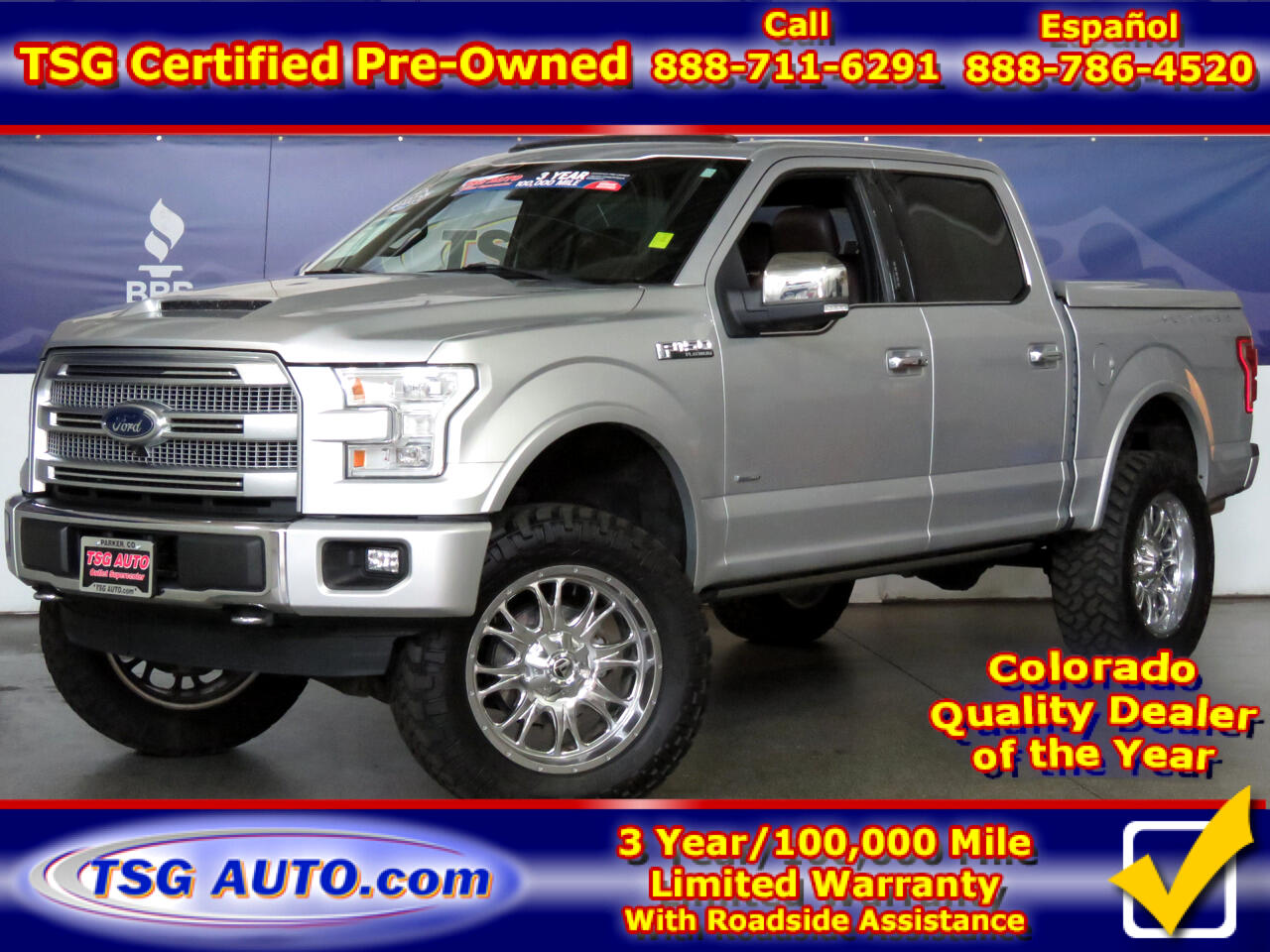 "2015 Ford F-150 4WD SuperCrew 145"" Platinum W/Lift/Wheels/Tires"
