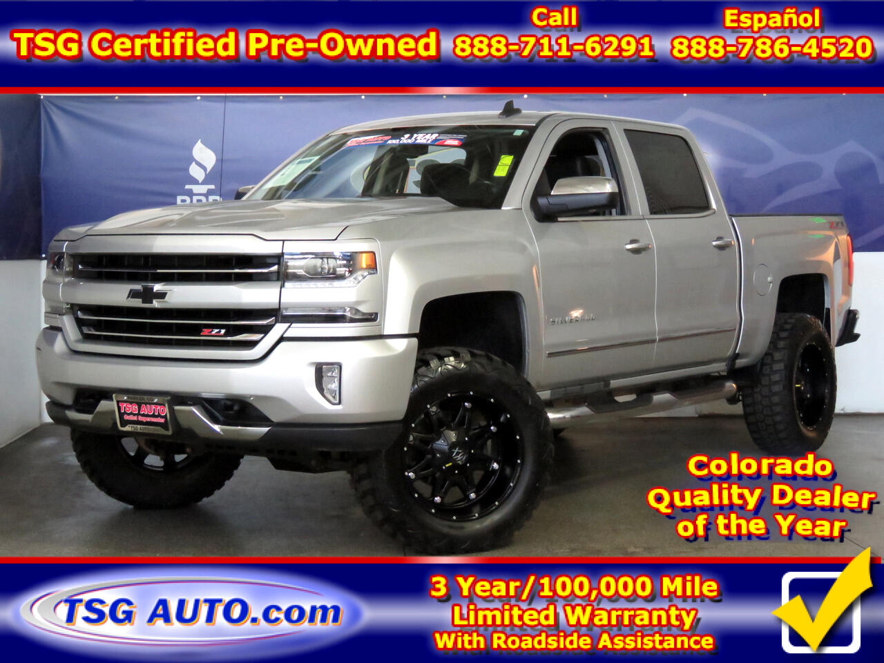 "2016 Chevrolet Silverado 1500 4WD Crew Cab 143.5"" LTZ W/Lift/Wheels/Tires"