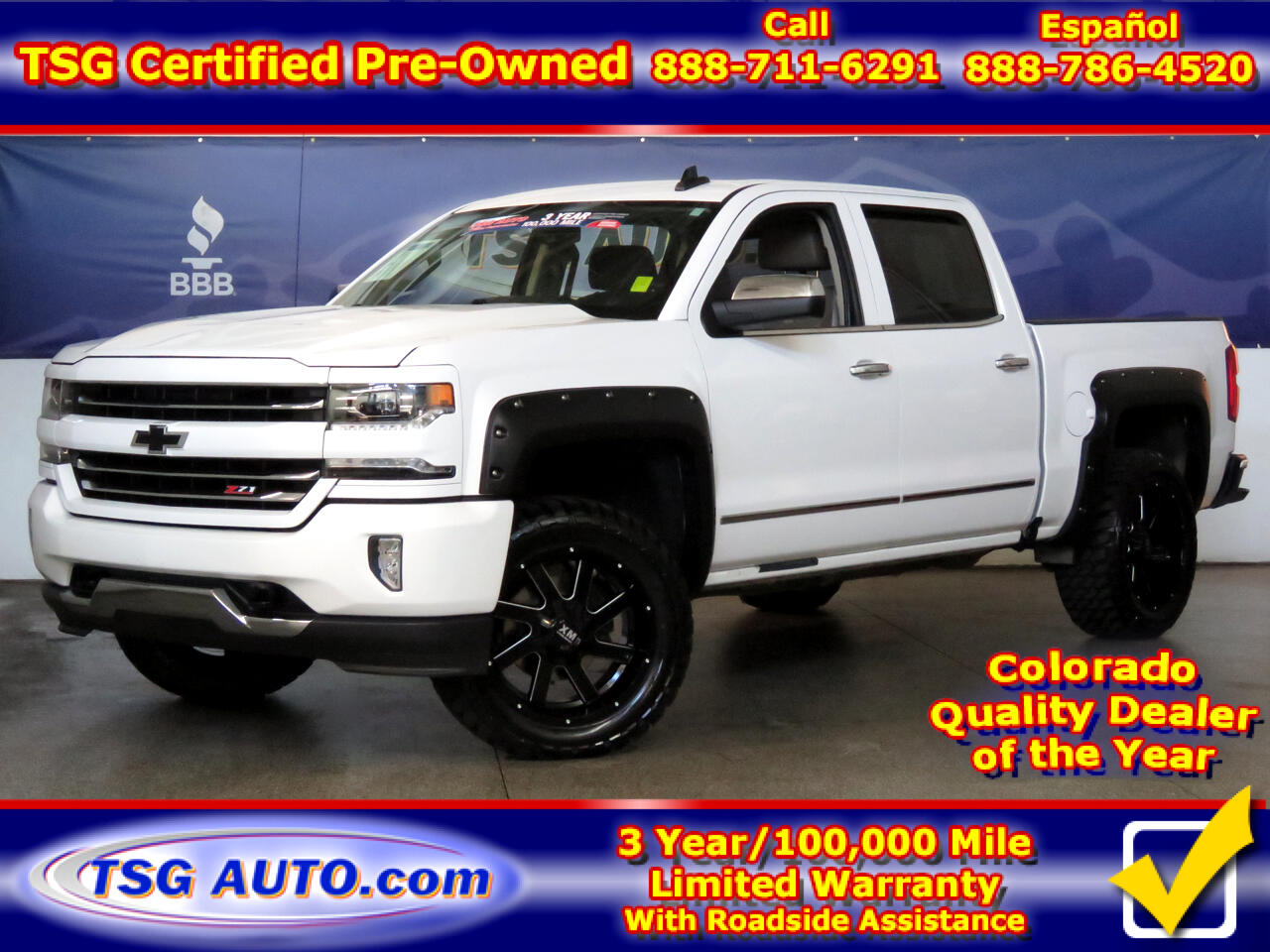 "2016 Chevrolet Silverado 1500 4WD Crew Cab 143.5"" LTZ Z71 W/Lift/Wheels/Tires"