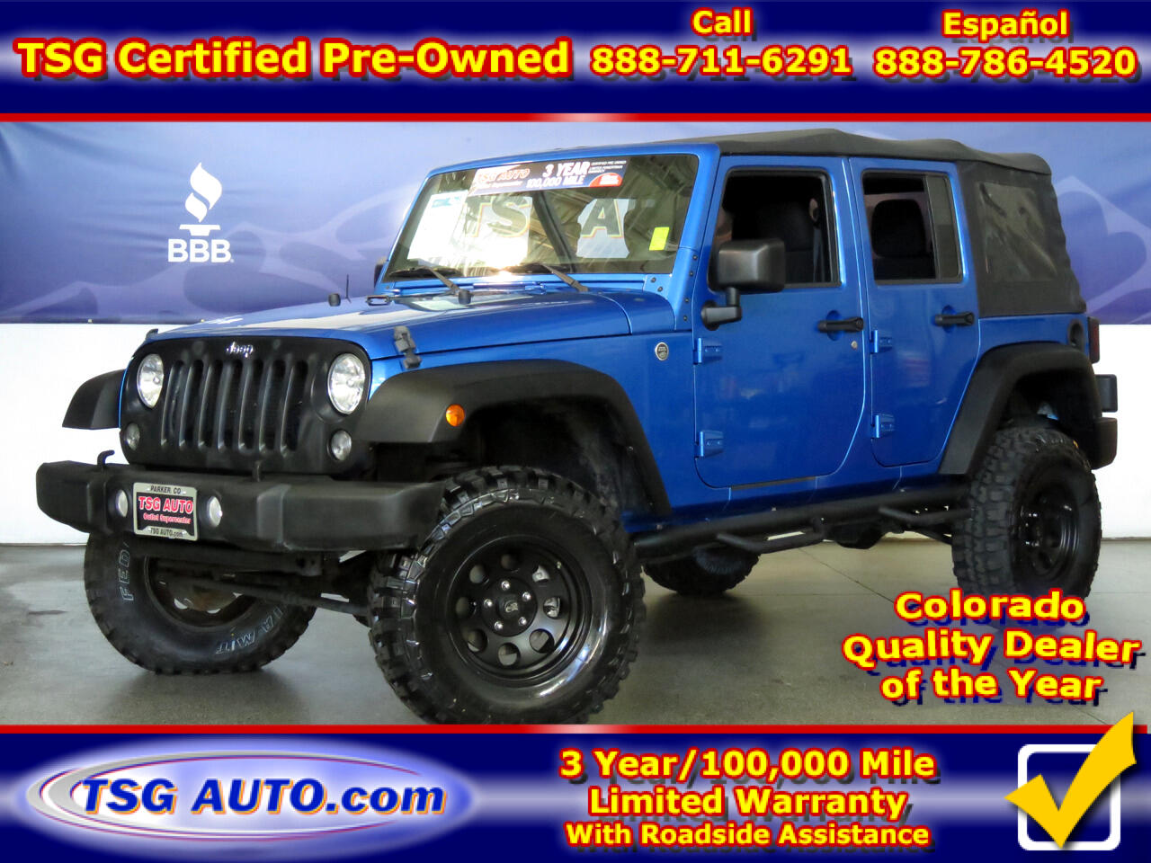 2015 Jeep Wrangler Unlimited 4WD 4dr Sport W/Custom Lift/Wheels