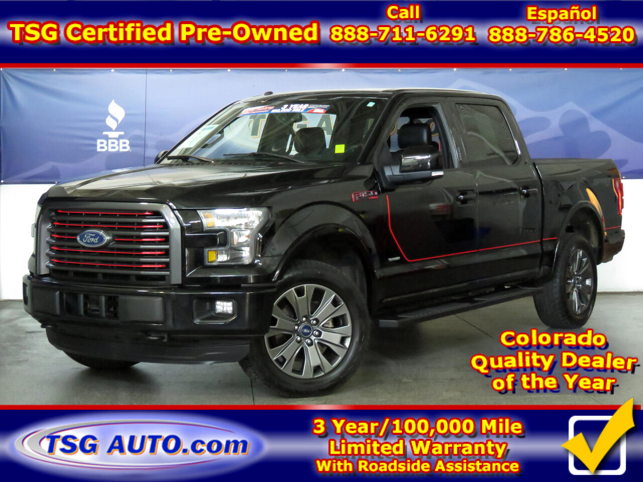"2016 Ford F-150 4WD SuperCrew 145"" Lariat Sport"