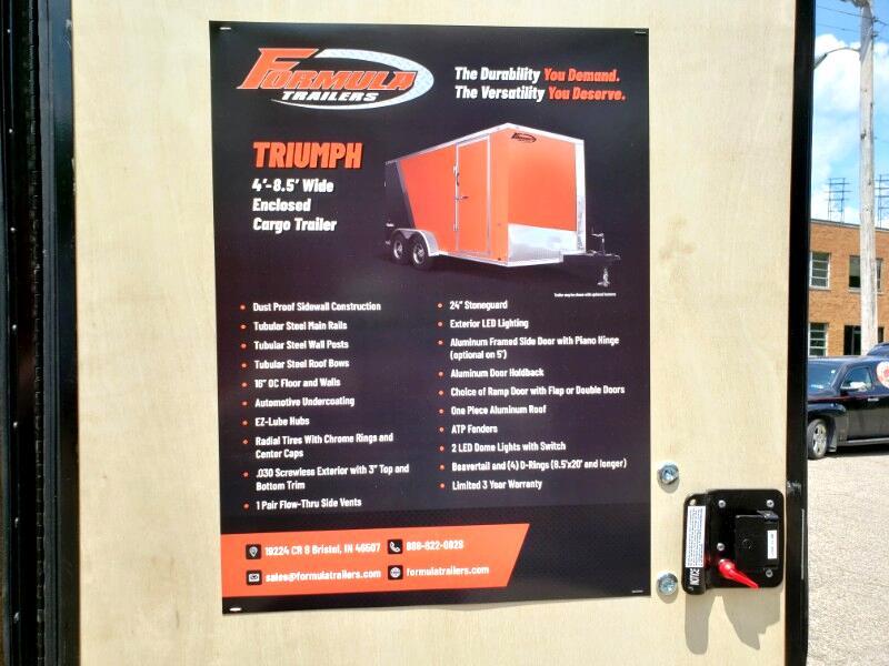 2020 Formula Trailers 7x14 Triumph, 12'' Extra Height, Ramp Door