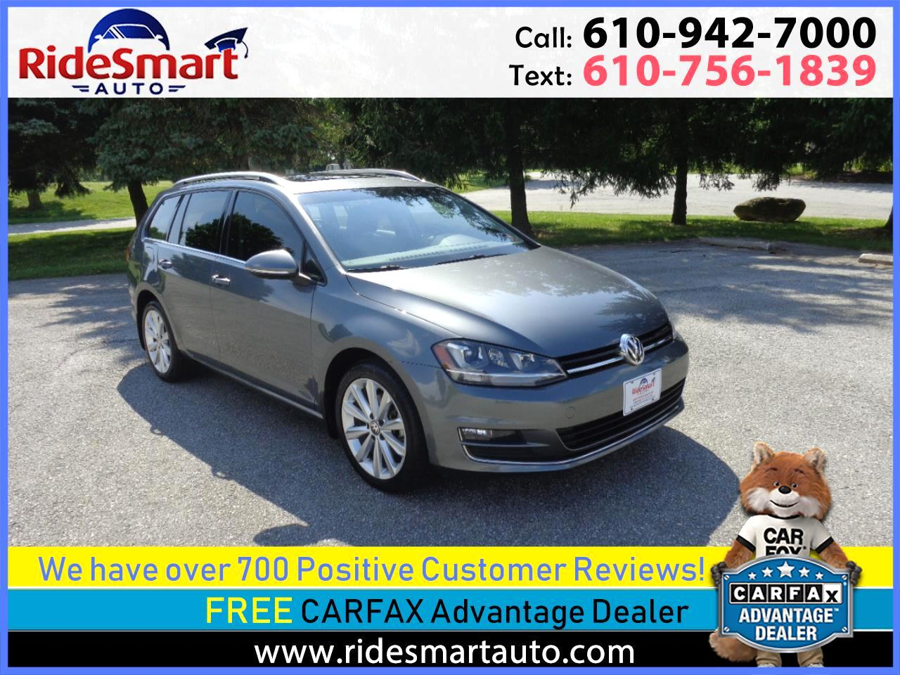 2015 Volkswagen Golf SportWagen TDI SEL 6 Speed Manual Leather-Nav-Sunroof