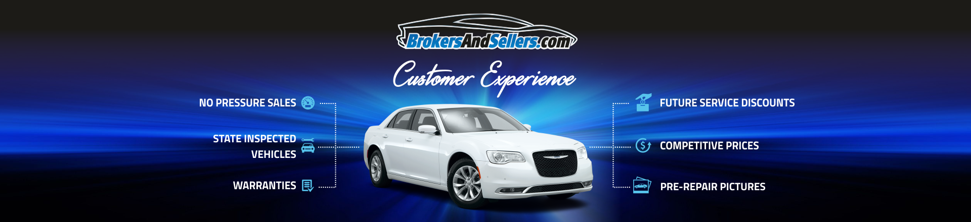 Our Customer Experience, we offer no pressure sales, state inspected vehicles, warranties, future service discounts, competitive prices and pre-repair pictures