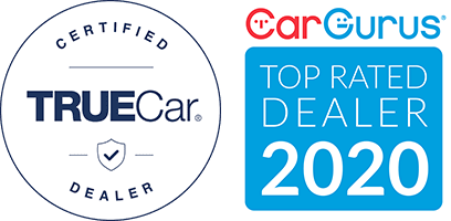 TrueCar Certified logo - CarGurus Top Rated Dealer 2020