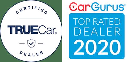 TrueCar Certified logo - CarGurus Top Rated Dealer 2020