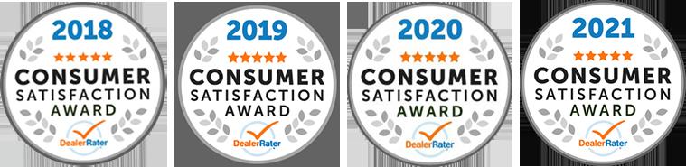 Winner 2021 Dealer Rater Consumer Satisfaction Award