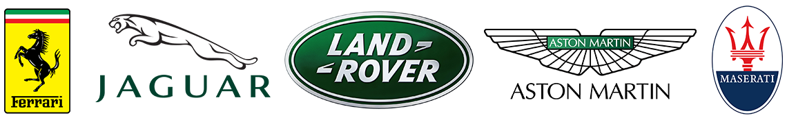 Ferrari Land Rover Aston Martin Jaguar Maserati brand logos on San Francisco Motorsports schedule service page