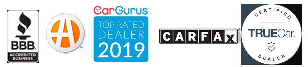 BBB, CarGurus, CarFax and TrueCar Logos