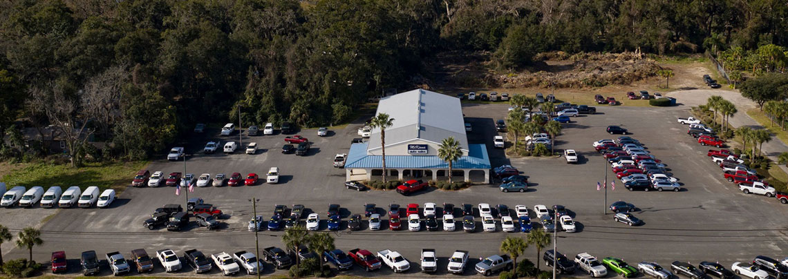 Arial photograph of McKinna Auto Sales in Brunswick GA