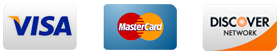 Accepted Credit Cards - Visa, Master Card and Discover