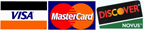 Accepted Credit Cards - Visa, Mastercard & Discovery